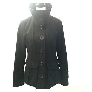 Hm turtleneck wool coat jacket black